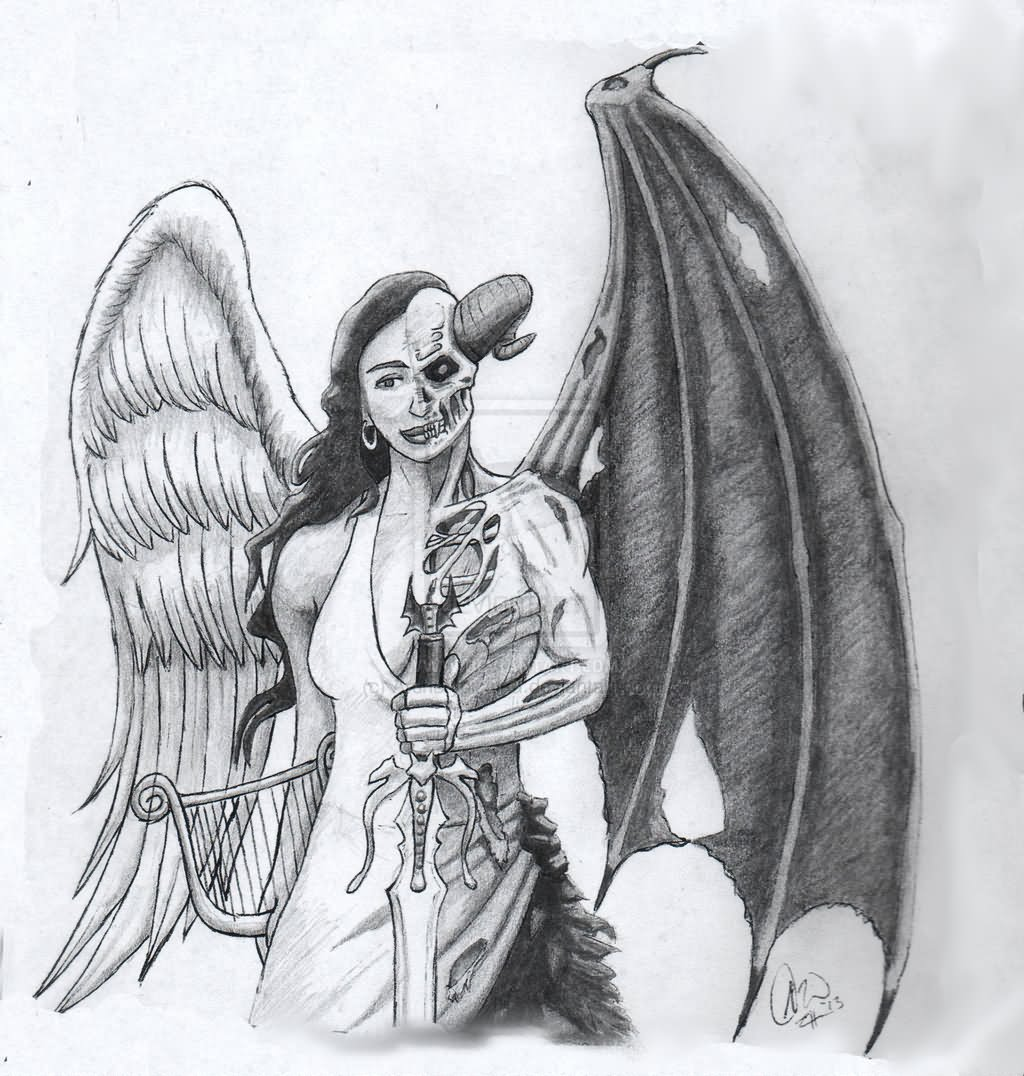 devil tattoo design girl Angel
