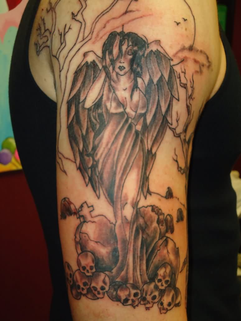 Angels and demons tattoos sleeve