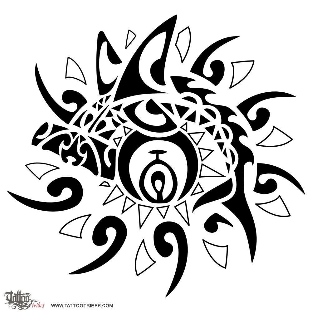 black tribal sun tattoo design for men