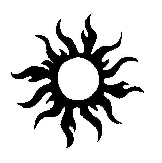 Black Tribal Sun Tattoo Design Flash