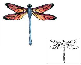Color Ink Dragonfly Tattoo Design