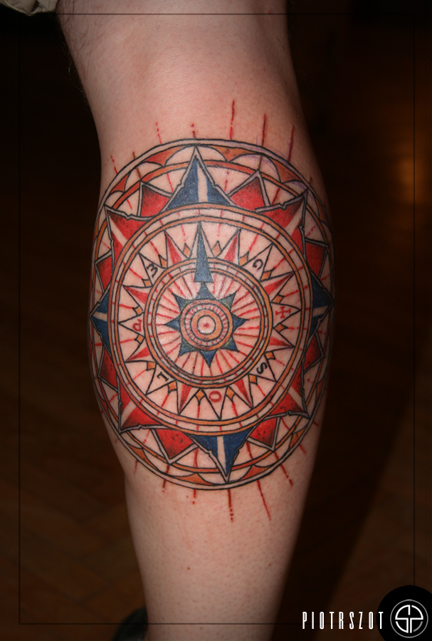 Colorful Compass Tattoo by piotrszot
