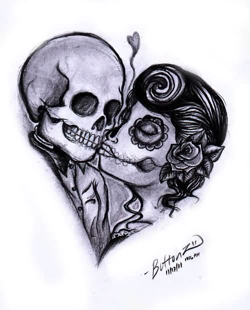 Day of the dead tattoo images designs for Skull love tattoos