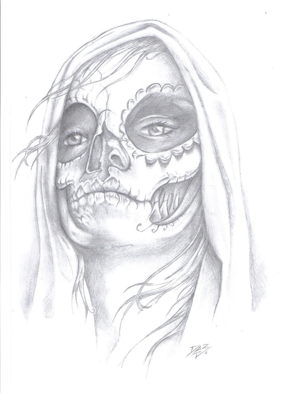 day of the dead gypsy tattoo design