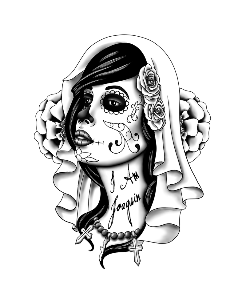 day of the dead tattoo design for girls. Black Bedroom Furniture Sets. Home Design Ideas