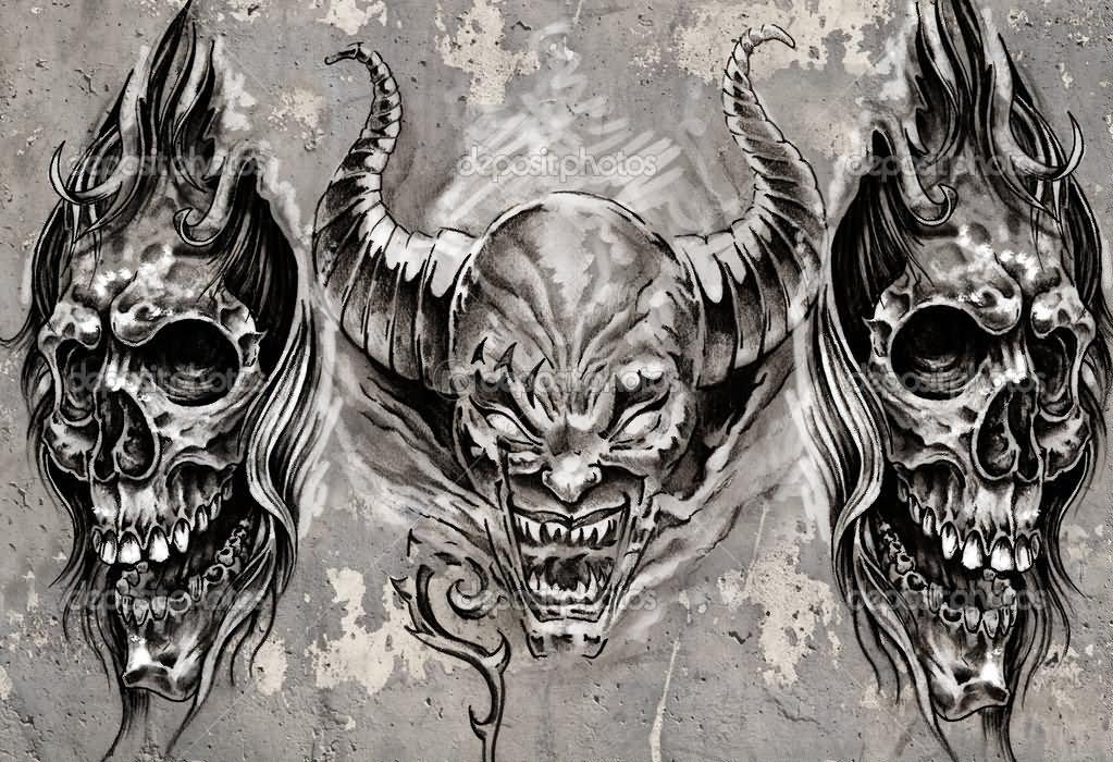 Demon face tattoos designs ideas for Evil faces tattoos