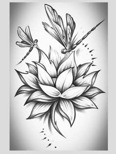 Dragonfly on lotus flower tattoo design mightylinksfo