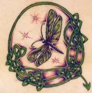Green Celtic And Dragonfly Tattoo Design