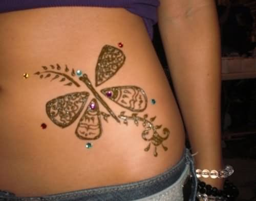 Henna Dragonfly Tattoo For Girls