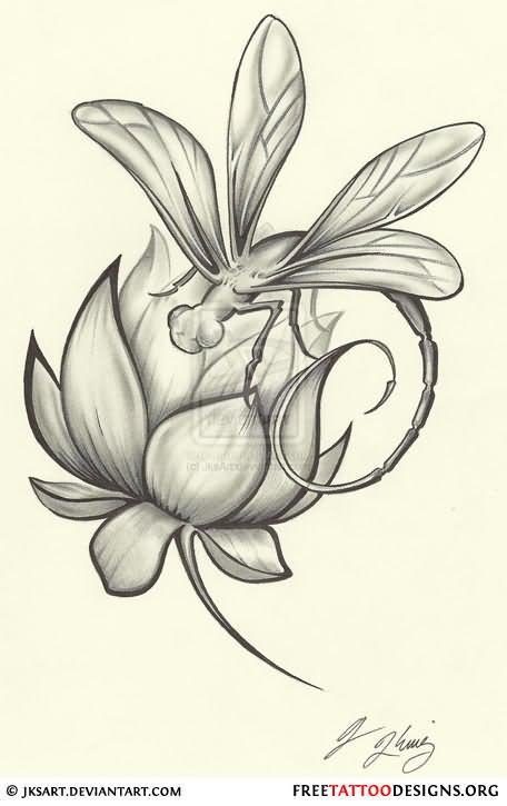 dragonfly on lotus flower tattoo design. Black Bedroom Furniture Sets. Home Design Ideas