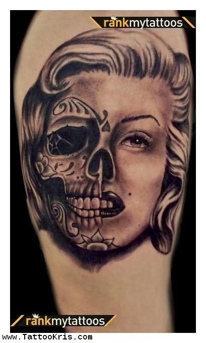 Day of the dead tattoo images designs for Marilyn monroe skull tattoos