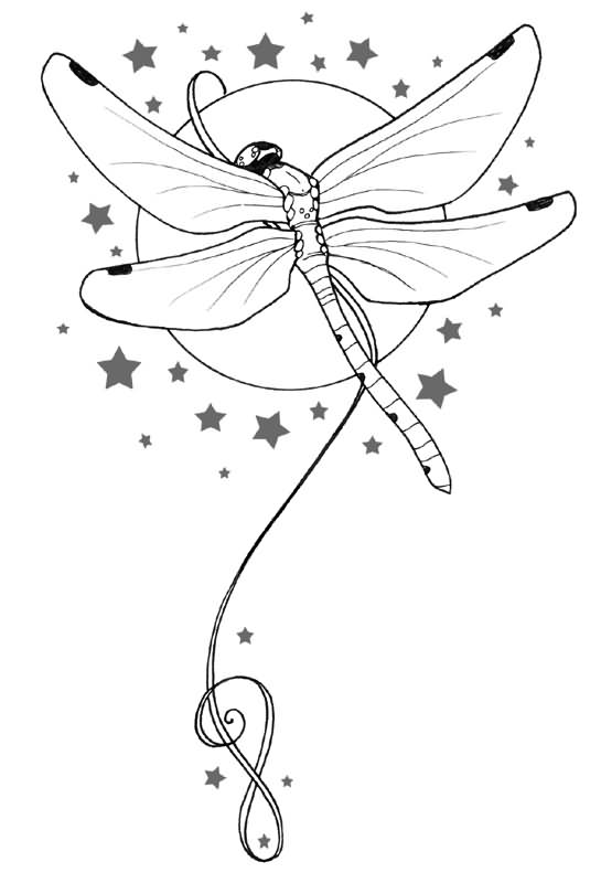 Moon And Outline Dragonfly Tattoo Design