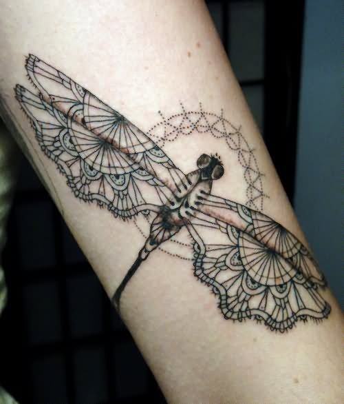 Moth Dragonfly Tattoo On Sleeve