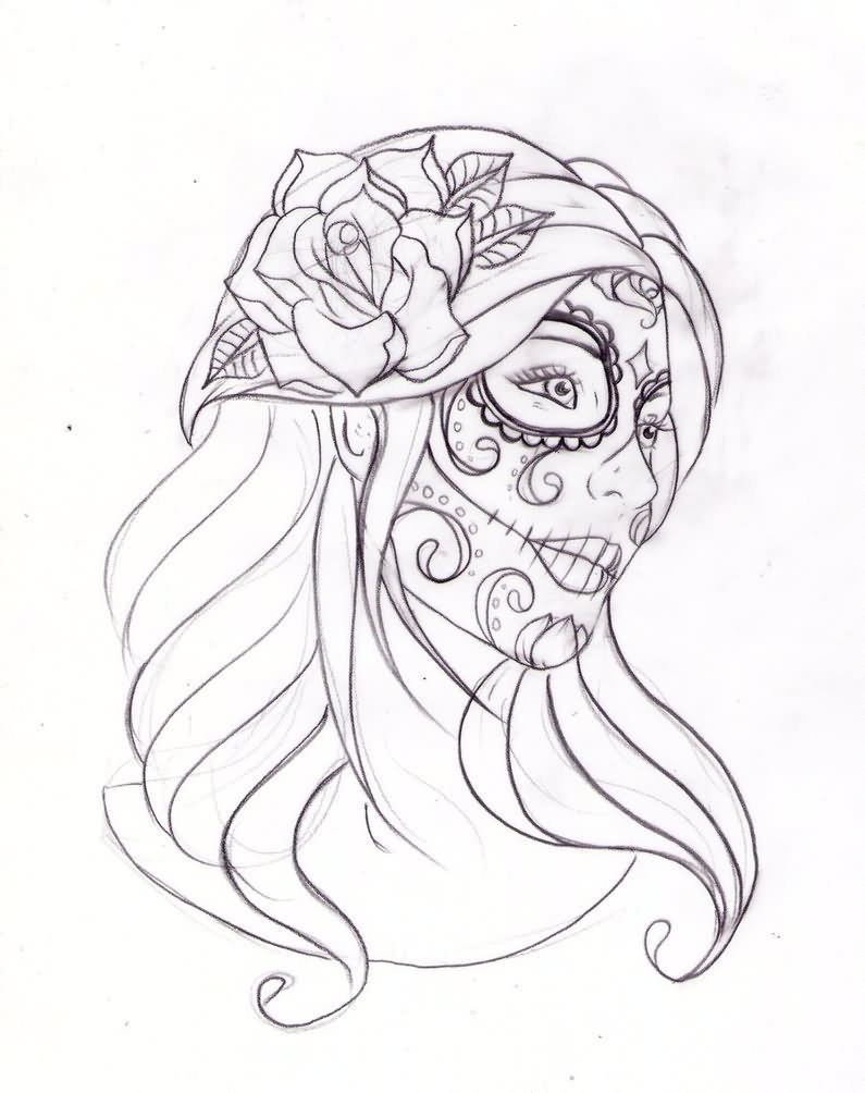 Tattoo Outlines For Girls: Day Of The Dead Tattoo Images & Designs