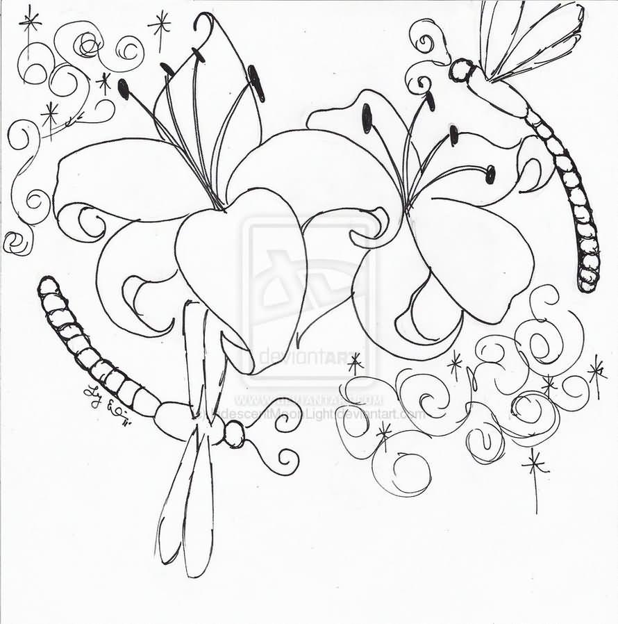 Outline lotus flower dragonfly tattoo design outline lily dragonfly tattoo design izmirmasajfo