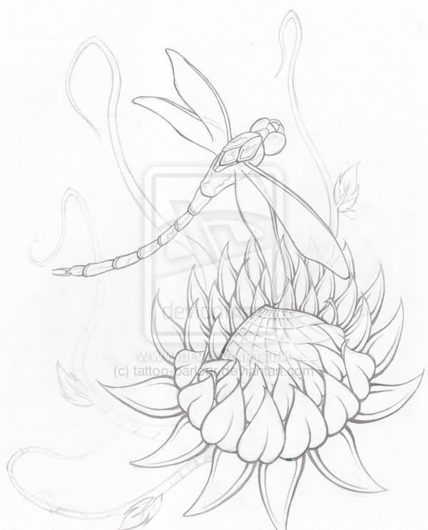 Outline Lotus Flower Dragonfly Tattoo Design