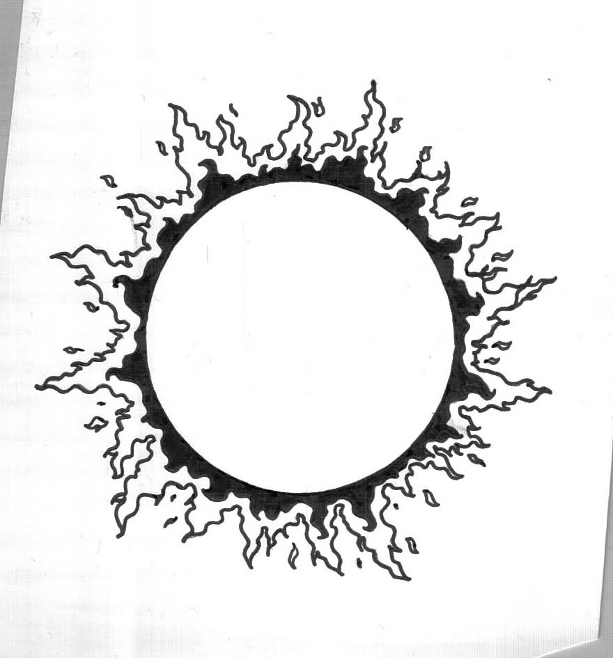 Outline Sun Tattoo Design