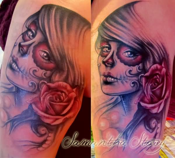 518468a71047f Rose Flower And Day Of The Dead Girl Face Tattoo