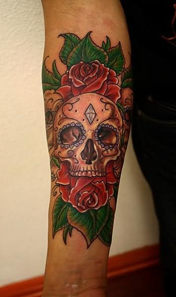 rose flower and day of the dead skull tattoo on arm. Black Bedroom Furniture Sets. Home Design Ideas