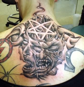 Sean Wife Demon Tattoo On Upper Back