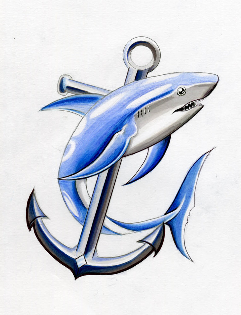 Shark & Anchor Tattoo Design by davepinsker