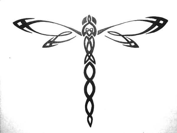 Tribal Outline Dragonfly Tattoo Design Idea