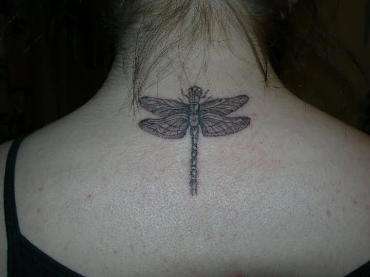 Upper Back Dragonfly Tattoo For Girls