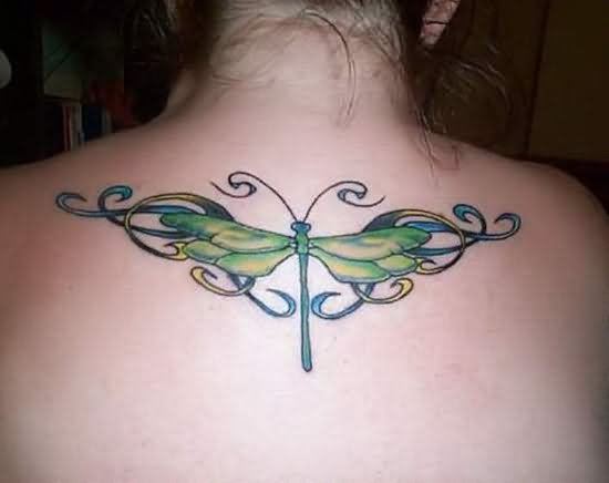Wonderful Green Dragonfly Tattoo On Upper Back