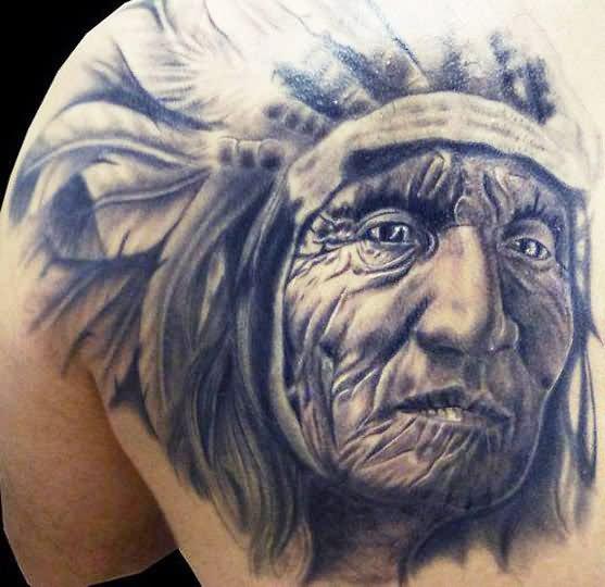 3d old indian chief portrait tattoo on back shoulder. Black Bedroom Furniture Sets. Home Design Ideas