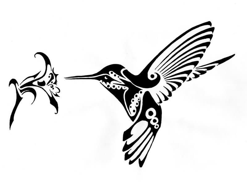 Cartoon hummingbird flower