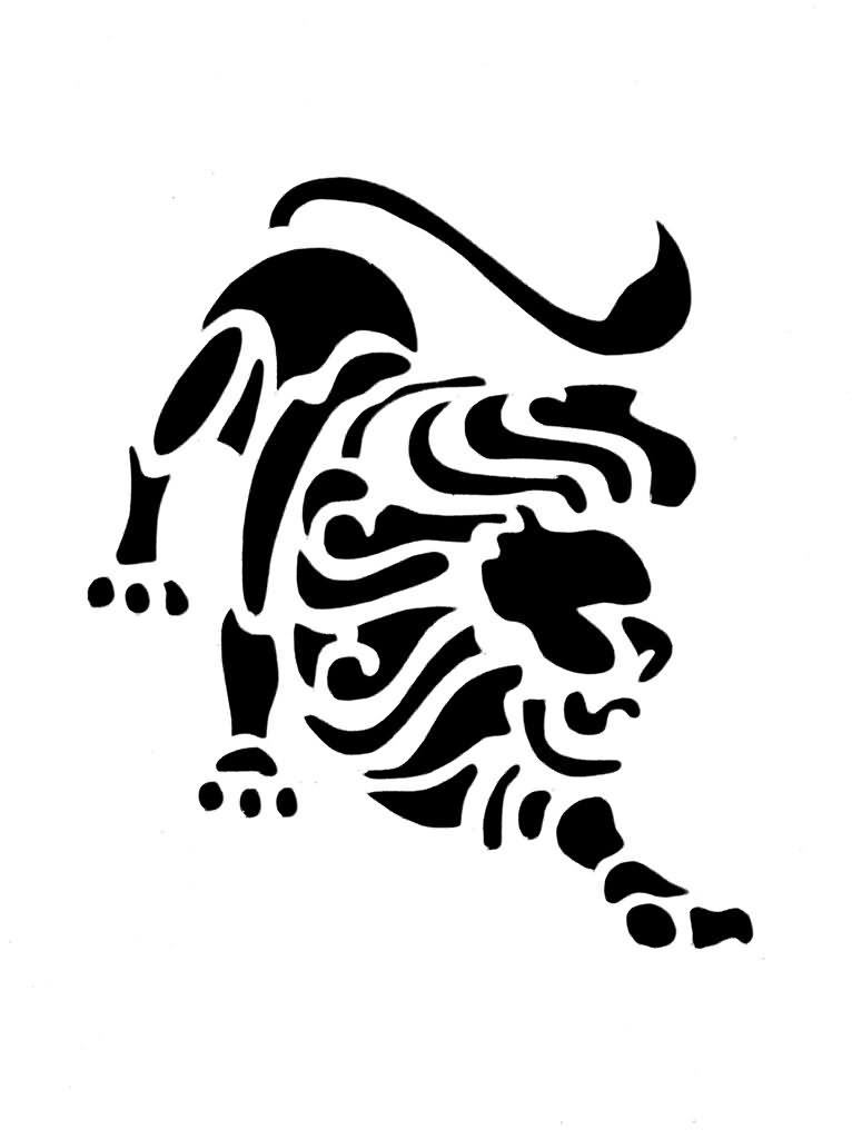 Black Tribal Leo Zodiac Tattoo