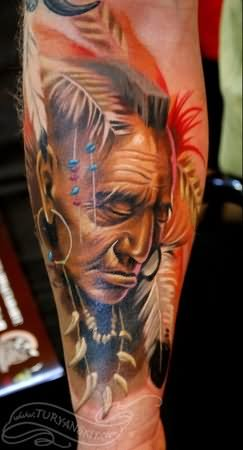 Color Indian Chief Tattoo On Arm