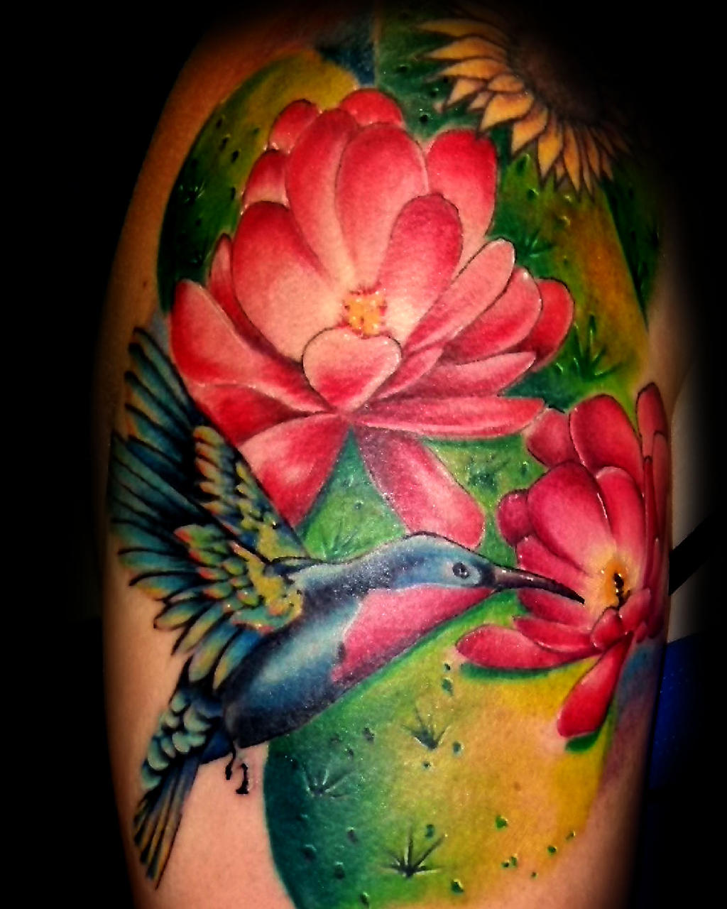 Colorful Flowers And Hummingbird Tattoo Design