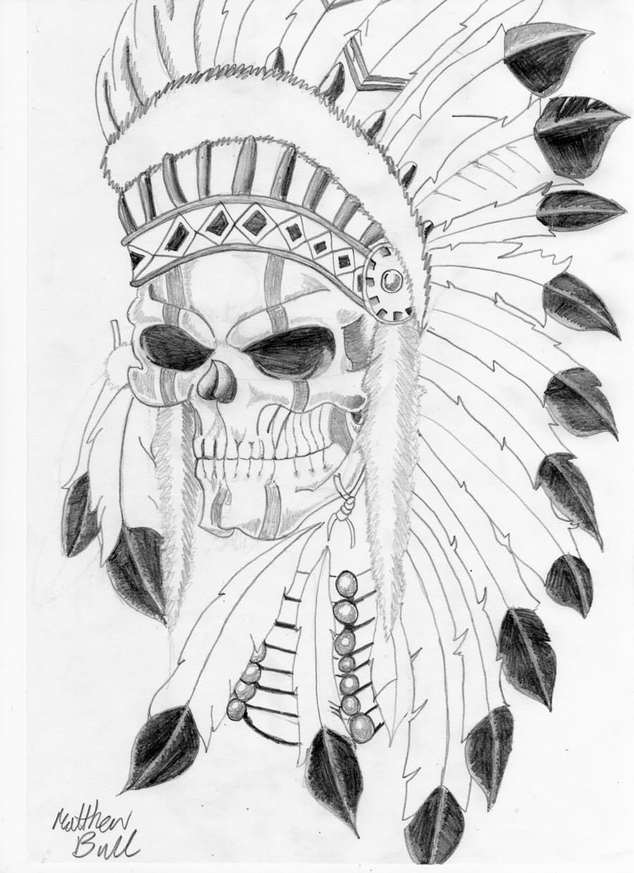 Indian Skull With Feather Headdress Tattoo Design