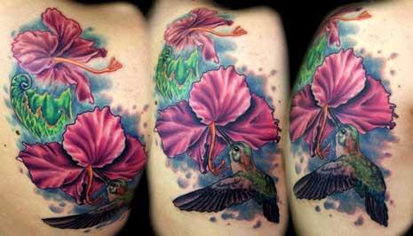 Pink Hibiscus And Hummingbird Tattoo Design