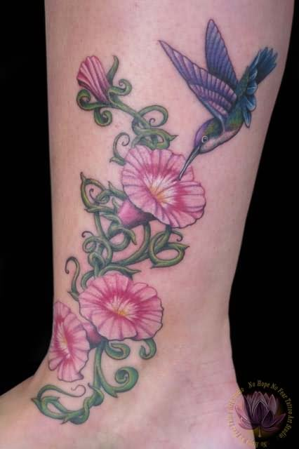 Morning Glory Flower Color Side Rib Tattoo