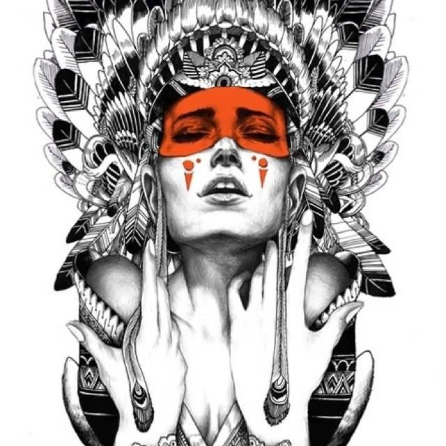 Traditional Indian Headdress Tattoo Design border=