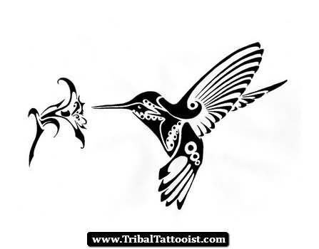 Tribal Flower And Hummingbird Tattoo Design