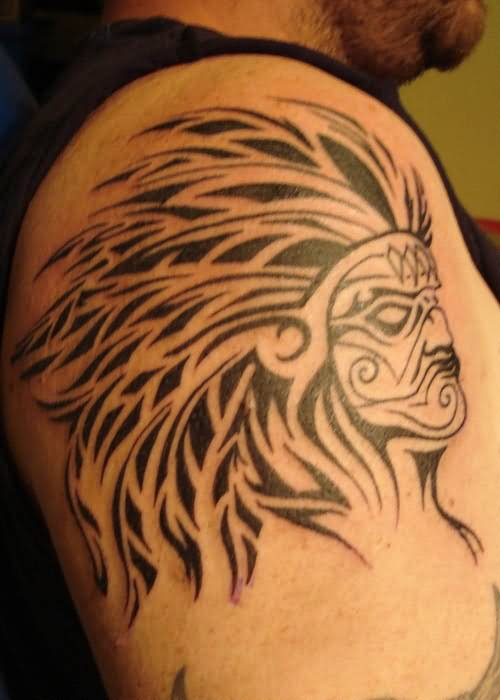 tribal indian tattoo on shoulder for men