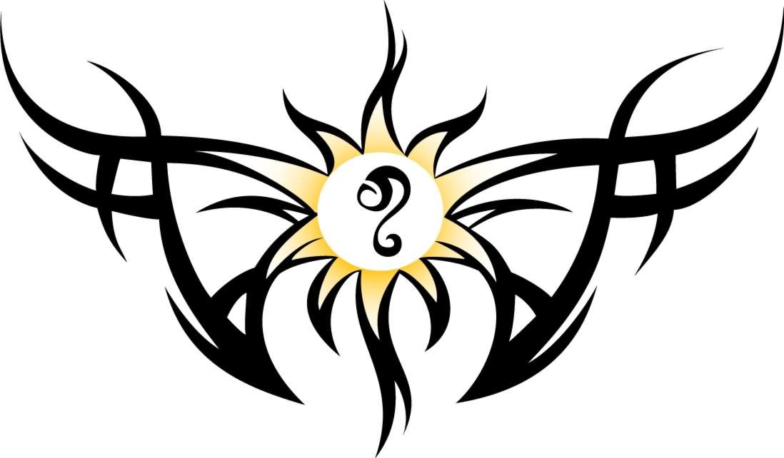 Leo Tribal Sun Tattoos
