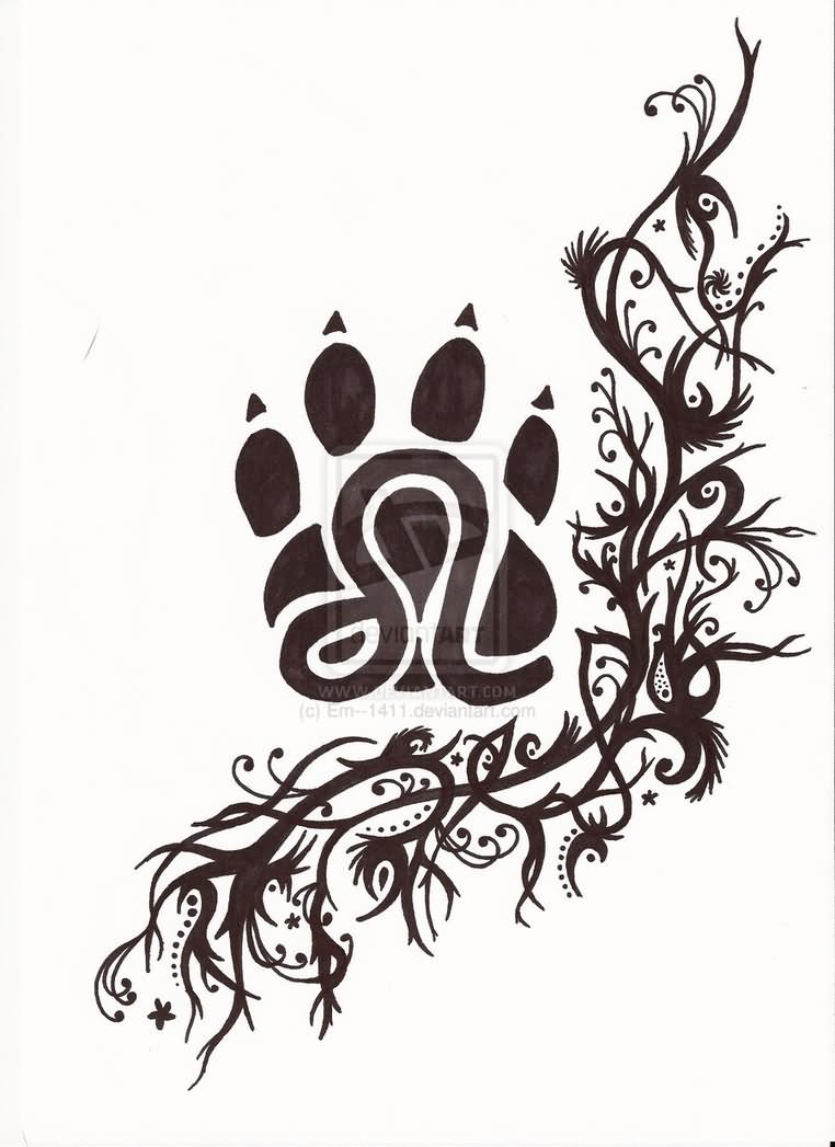 Tribal Sun And Leo Sign Tattoo Design For Lower Back