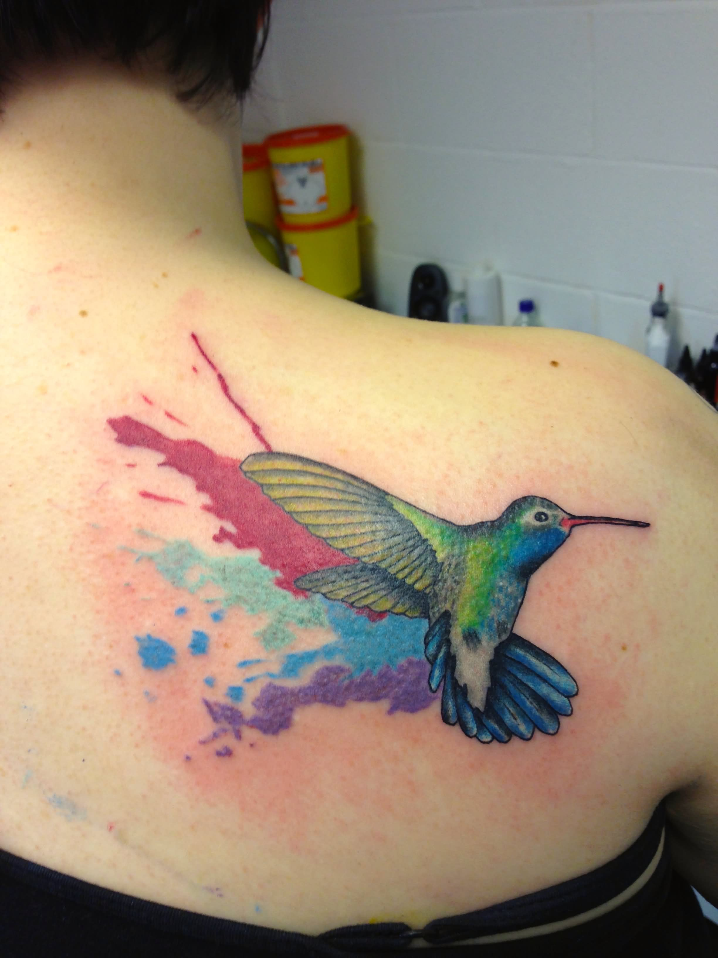Watercolor Hummingbird Tattoo On Right Back Shoulder