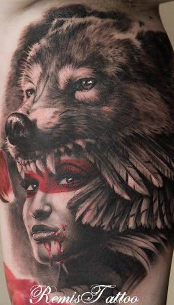 wolf and indian girl tattoo by remis. Black Bedroom Furniture Sets. Home Design Ideas