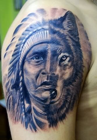 Wolf And Indian Lady Face Tattoo On Shoulder