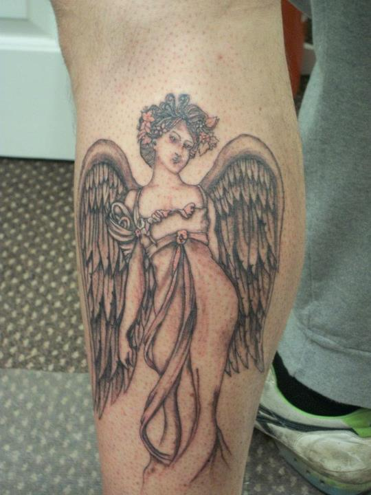 Angel Tattoo On Left Leg