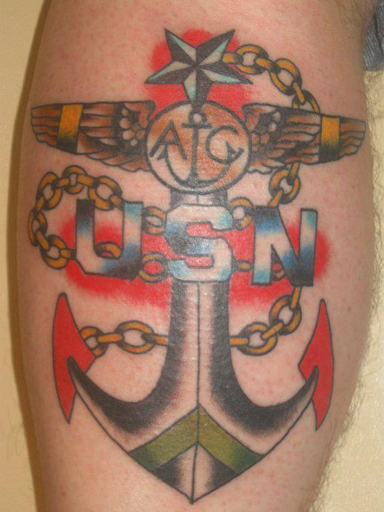 Color USN Anchor Tattoo