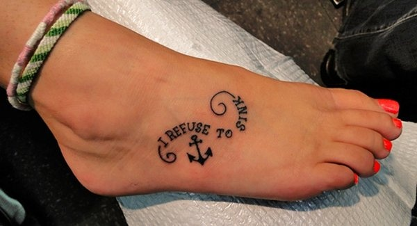 Cute Anchor Tattoo On Foot For Girls