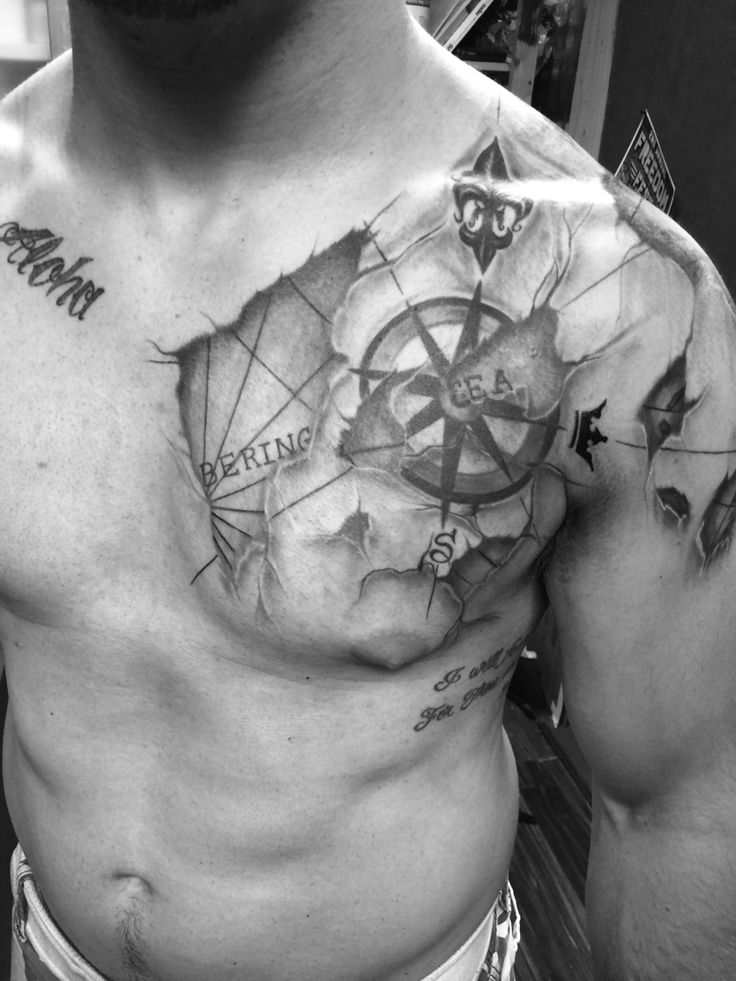 Nautical Map Tattoo On Left Shoulder