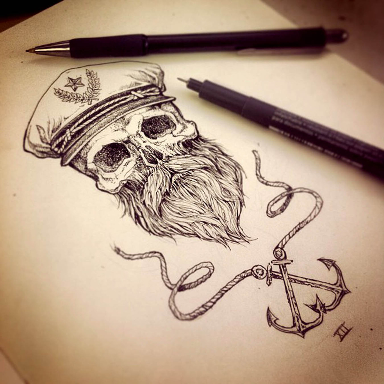 Skull With Crossbones And Pink Bow Tattoo Design Idea