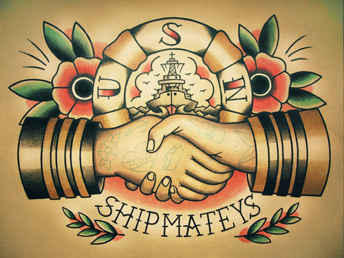Sailor Handshake Traditional Nautical Tattoo Flash